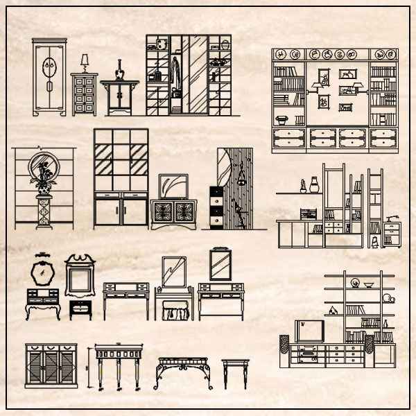 Furniture Elevation Design Architectural Autocad Drawings Blocks